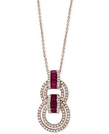 "EFFY® Certified Ruby (5/8 ct. t.w.) & Diamond (1/2 ct. t.w.) 18"" Pendant Necklace in 14k Rose Gold"