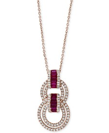 """EFFY® Certified Ruby (5/8 ct. t.w.) & Diamond (1/2 ct. t.w.) 18"""" Pendant Necklace in 14k Rose Gold"""