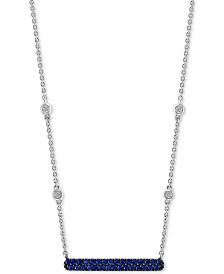 "EFFY® Sapphire (1/4 ct. t.w.) & Diamond Accent 18"" Bar Necklace in 14k White Gold"