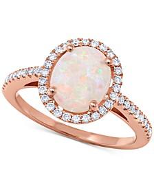 Opal (1-3/8 ct. t.w.) & Diamond (1/3 ct. t.w.) Ring in 14k Rose Gold