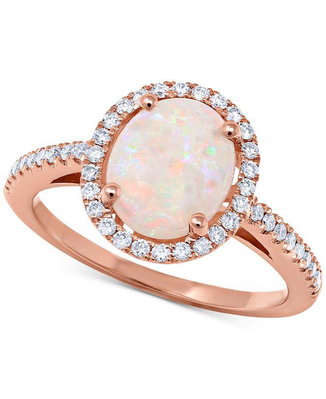 Macy's Opal (1-3/8 ct. t.w.) & Diamond (1/3 ct. t.w.) Ring in 14k Rose Gold