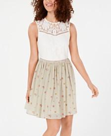 City Studios Juniors' Lace & Floral Stripe Dress