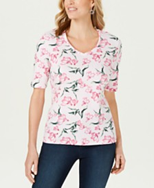 Karen Scott Petite Floral-Print V-Neck Top, Created for Macy's