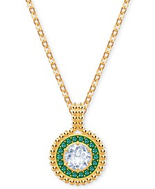 "Gold-Tone Crystal Circular Pendant Necklace, 14-7/8"" + 4"" extender"