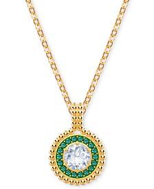 "Swarovski Gold-Tone Crystal Circular Pendant Necklace, 14-7/8"" + 4"" extender"