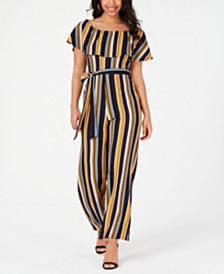 52499710a42 One Clothing Juniors  Belted Striped Jumpsuit   Reviews - Leggings ...