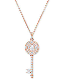 "Swarovski Rose Gold-Tone Crystal 3D Cage Key-Shape Pendant Necklace, 25-1/2"" + 1-3/4"" extender"