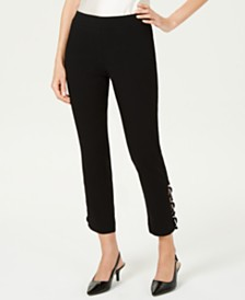 JM Collection Contrast-Loop Ankle Pants, Created for Macy's