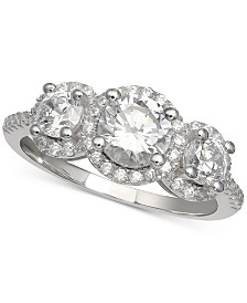 Giani Bernini Cubic Zirconia Three Stone Halo Ring in Sterling Silver, Created for Macy's