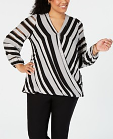 Alfani Plus Size Textured Surplice Top, Created for Macy's