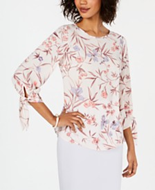 Nine West Printed Tie-Sleeve Blouse