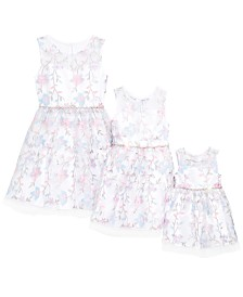 Rare Editions Sisters Floral Embroidered Dresses