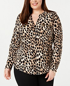Plus Size Animal-Print Top, Created for Macy's