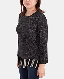 Contrast-Hem Layered Top