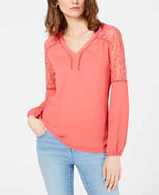 I.N.C. Blouson Lace Woven Top, Created for Macy's