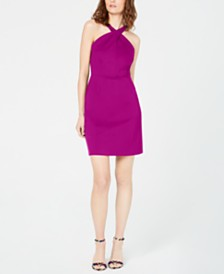 I.N.C. Petite Crossed-Neck Bodycon Dress, Created for Macy's