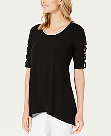 Piped Open-Sleeve Top, Created for Macy's