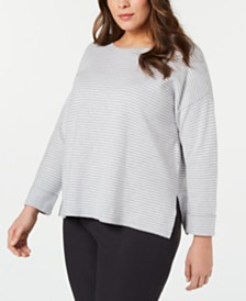 Eileen Fisher Plus Size Striped Box-Top Sweater