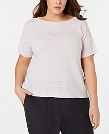 Plus Size Organic Linen Bateau-Neck Box-Top