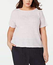 Eileen Fisher Plus Size Organic Linen Bateau-Neck Box-Top