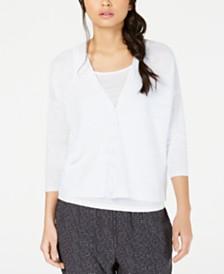Eileen Fisher Organic Linen 3/4-Sleeve Cardigan
