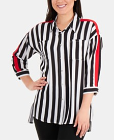 NY Collection High-Low Striped Button-Down Blouse