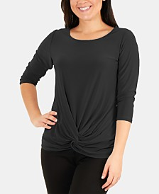 NY Collection 3/4-Sleeve Twist-Front Top