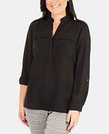 NY Collection NY Collection High-Low Utility Blouse