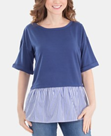NY Collection Lattice-Back Layered Peplum Top