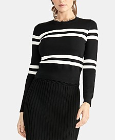 RACHEL Rachel Roy Striped Cropped Sweater