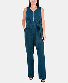 Petite Glitter Zip-Front Belted Jumpsuit