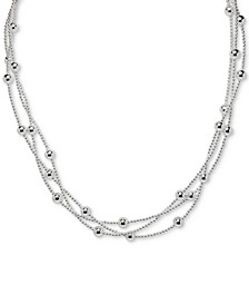 "Beaded Triple Layer 18"" Statement Necklace in Sterling Silver, Created for Macy's"