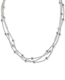 "Giani Bernini Beaded Triple Layer 18"" Statement Necklace in Sterling Silver, Created for Macy's"