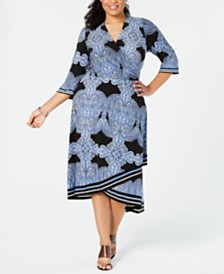 I.N.C. Plus Size Printed Faux-Wrap Midi Dress, Created for Macy's