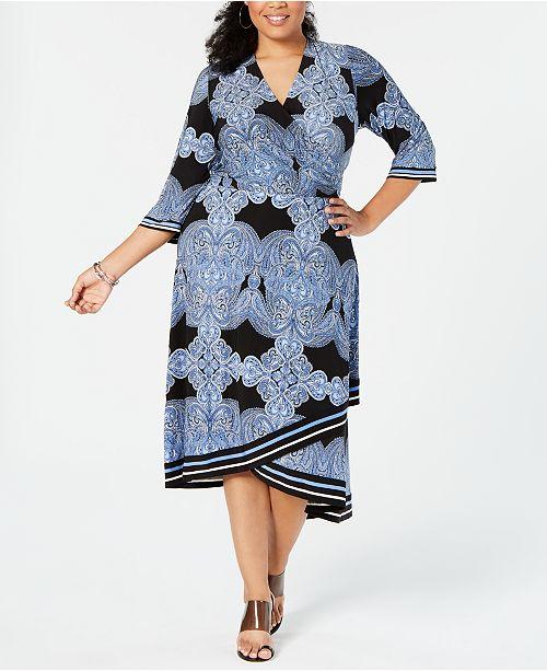 INC Plus Size Printed Faux-Wrap Midi Dress, Created for Macy\'s