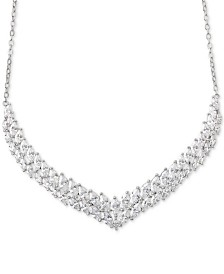 """Giani Bernini Cubic Zirconia Chevron 18"""" Collar Necklace in Sterling Silver, Created for Macy's"""