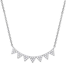"Cubic Zirconia Pavé Pointed Collar Necklace in Sterling Silver, 16"" + 2"" extender"