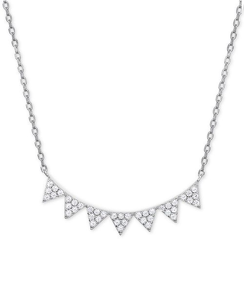 """Giani Bernini Cubic Zirconia Pavé Pointed Collar Necklace in Sterling Silver, 16"""" + 2"""" extender"""