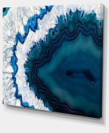 """Designart Blue Brazilian Geode Abstract Canvas Wall Art Print - 20"""" X 12"""""""