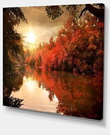 "Designart Colorful Fall Sunset Over River Landscape Canvas Art Print - 40"" X 30"""