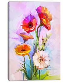 "Designart Bouquet Of Red White Flowers Large Floral Canvas Art Print - 30"" X 40"""