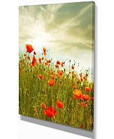 "Designart Red Poppy Flowers In Green Field Floral Canvas Art Print - 12"" X 20"""