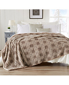 Ultra Soft Sherpa Stretch Knitted Printed  Blanket - Full-Queen