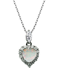 "925 Sterling Silver with Lab Created Opal and Cubic Zirconia Heart Pendant with 18"" Chain"