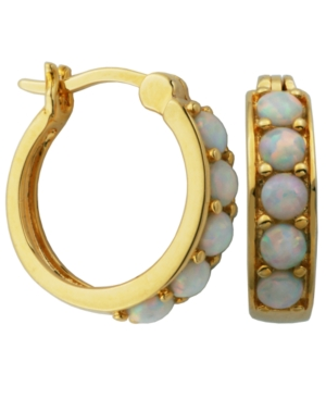 18K Gold over Sterling Silver with Lab Created Opal Hoop Earrings