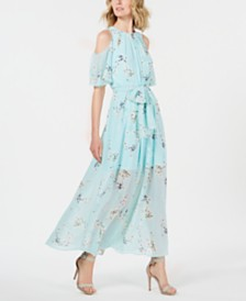 Calvin Klein Floral-Print Cold-Shoulder Maxi Dress