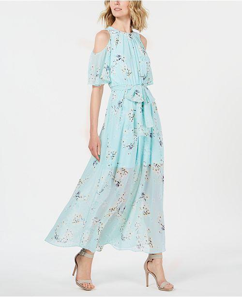 4df0e86228e Calvin Klein Floral-Print Cold-Shoulder Maxi Dress & Reviews ...