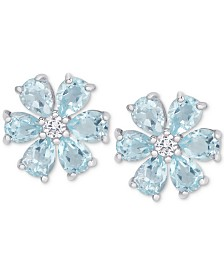 Blue Topaz (2-3/8 ct. t.w.) & White Topaz Accent Flower Stud Earrings in Sterling Silver