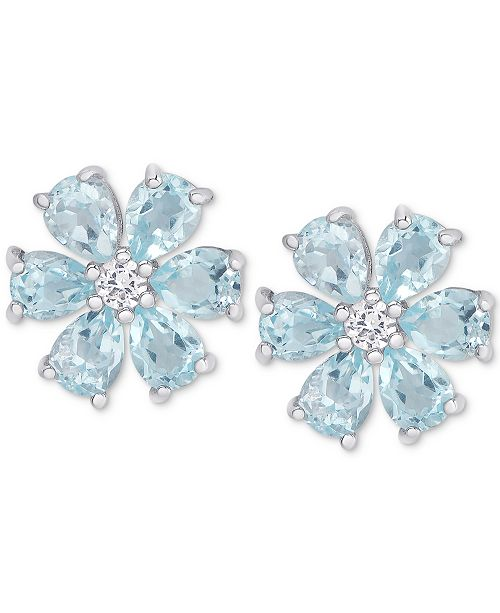 Macy's Blue Topaz (2-3/8 ct. t.w.) & White Topaz Accent Flower Stud Earrings in Sterling Silver