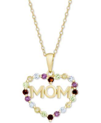 Multi-Gemstone Mom Heart 18